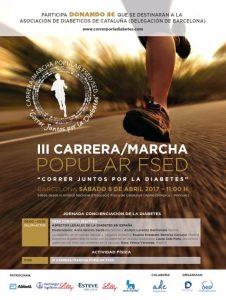 cartel carrera correr juntos por la diabetes